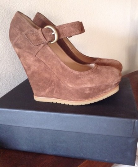 Pura Lopez Mary Jane Suede Ankle Strap Light Brown Wedges Image 1