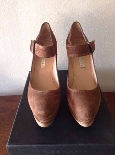 Pura Lopez Mary Jane Suede Ankle Strap Light Brown Wedges Image 2
