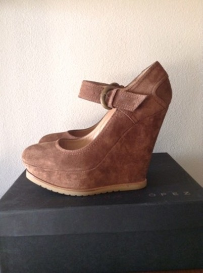 Pura Lopez Mary Jane Suede Ankle Strap Light Brown Wedges Image 3