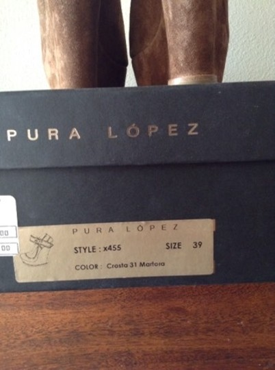 Pura Lopez Mary Jane Suede Ankle Strap Light Brown Wedges Image 5