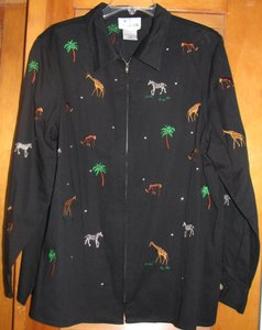 Quacker Factory Denim Jungle Zebra Giraffe Black Multi Womens Jean Jacket