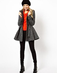 ASOS Skater Adorable Black Gray Coat