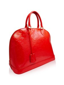 Louis Vuitton Alma Vernis Satchel in Orange