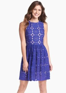 ivy + blu short dress Blue Fit-and-flare Lace Floral on Tradesy