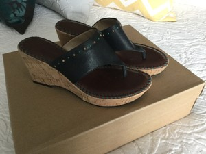 Bandolino Cork Wedge Bead Leather Black Sandals