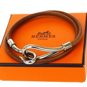Hermès Hermes Brown Jumbo Hook Double Wrap Bracelet