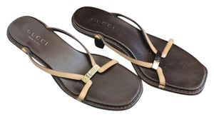 Gucci Open Toe Heels Leather Brown Sandals