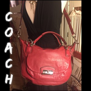 Coach Satchel in Red/Silver hardware