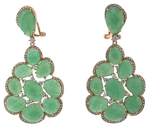 Other 18k,Pink,Gold,0.99ct,Diamond,And,31.56ct,Green,Aventurine,Earrings