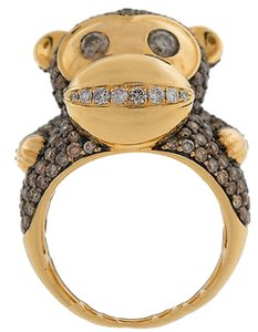 Other 14k,Yellow,Gold,3.718ct,Champagne,And,White,Diamond,Monkey,Design,Cocktail,Ring