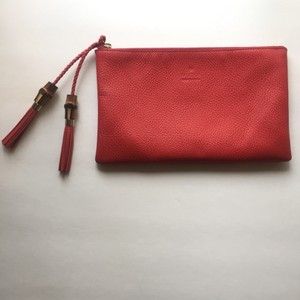 Gucci Leather Pebbled Tassels Red Clutch