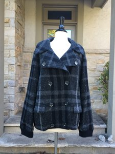Burberry Grey Plaid Pea Coat
