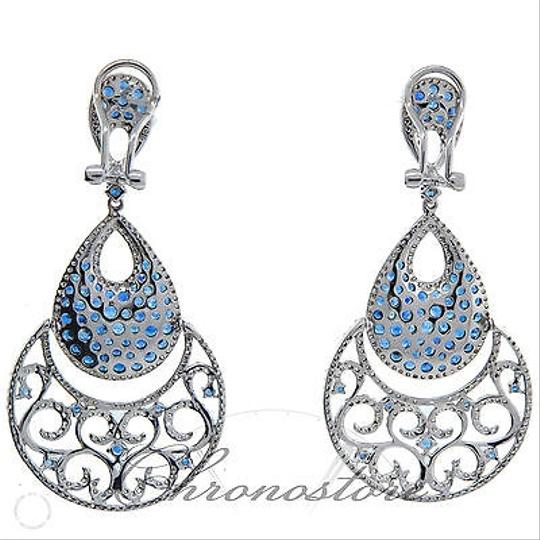 Other Elegant,Blue,3.12,Ct.,Sapphire,And,2.10,Ct.,Diamond,Double,Teardrop,Earrings