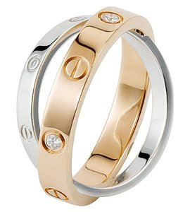 Cartier Cartier Love Rose Gold & White Gold DIAMOND RING Size:51 UK:5.75