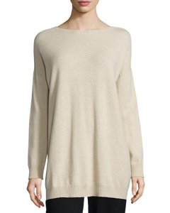 Eileen Fisher Bateau Boxy Cashmere Tunic Sweater