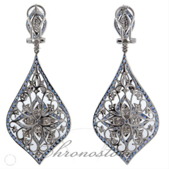 Other Floral,Dangling,18k,White,Gold,1.37ct,Diamond,Blue,Sapphire,Earrings