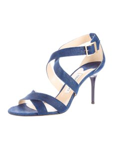 Jimmy Choo Lottie Embossed Blue Pumps