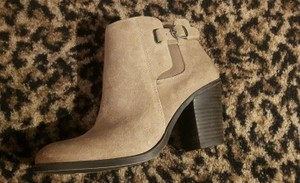 Lucky Brand Ankle High Heel Leather Womens Beige Boots