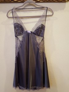 Victoria's Secret short dress charcoal grey black lace Silk Satin on Tradesy