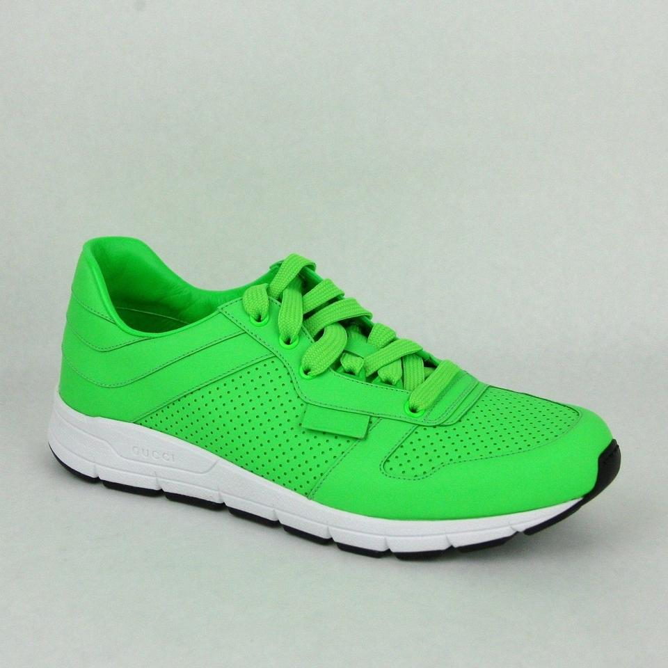 d83497e86 Gucci Green Leather Lace-up Running Sneakers 10.5 G/ Us 11 369088 3707  Shoes ...