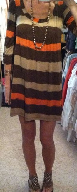 Glam short dress brown/tan/orange on Tradesy