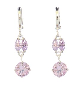 Other Celebrity Inspired Amethyst Color CZ Rhodium Silver Earrings