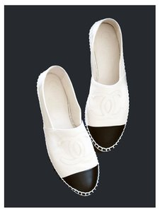 Chanel Espadrilles New In Box Black and White Flats