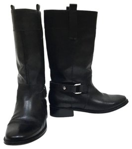Ellen Tracy Midcalf Leather Silver Hardware black Boots