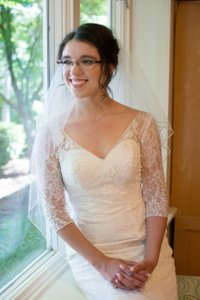 David's Bridal 3/4 Sleeve All Over Lace Trumpet Wedding Dress Style# Wg3684 Wedding Dress