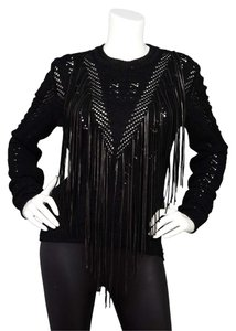 Roberto Cavalli Open Knit Leather Sweater