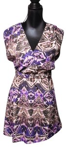 Charlie jade short dress Purple Multi V-neck Belted Wrap Short Sleeve Country on Tradesy