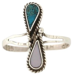 Mother Of Pearl Turquoise Ring - Sterling Silver Womens