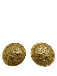 Dior Christian Dior Round Gold-Tone CD Signature Clip-On Earrings
