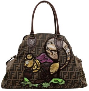 Fendi Tote in Tobacco, Brown, Purple, Green
