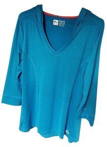RXB RBX blue 3/4 sleeve hooded multi-sport athletic top