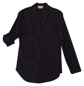 DKNY Shirt Blouse Tunic Cuff Button Down Shirt Black