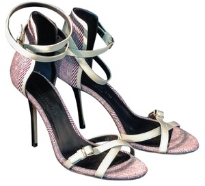 Burberry Ankle Strap Stiletto Ivory/red herringbone tweed Sandals