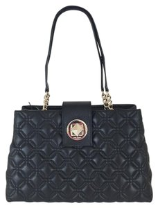 Kate Spade Elena Astor Court Quilted Leather Straps Large Satchel in Black