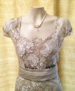 Calvin Klein Taupe 3 Piece Set Camisole, Lace Overlay Top And Bias Cut Skirt Dress