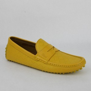 Gucci Yellow Men's Leather Diamante Driver 11 G/ Us 11.5 353047 7011 Shoes
