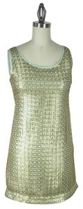 Anthropologie short dress gold with green lining Panes Shift By on Tradesy