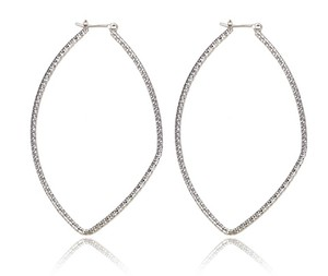 Other Rhodium Large Hammered Oval Silver Plated Earrings