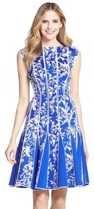 Tadashi Shoji Fit-and-flare A-line Embroidered Cocktail Neoprene Dress