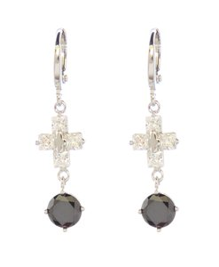 Other Silver Rhodium Black Cubic Zirconia Small Cross Drop Earrings