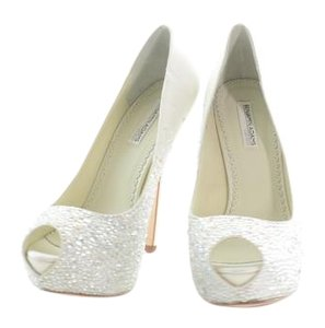 Benjamin Adams Perry Peep Toes Sparkle Ivory Pumps