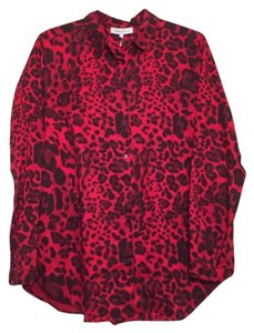 Sandro 100% Tencel Leopard Paris Button Down Shirt Red