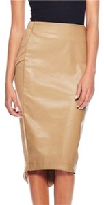 Gracia Midi Leather Skirt Beige
