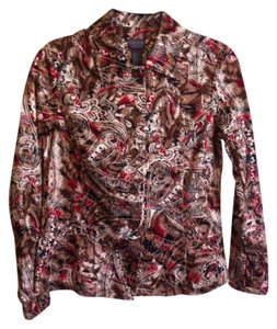 Chico's Top Tan, Black, Brown, Red & Beige print