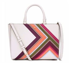 Tory Burch Saffiano Leather Satchel in New Ivory Multi Stripe