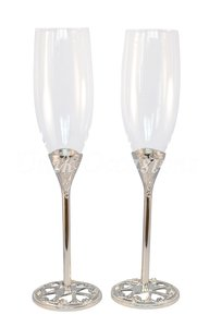 Silvertone Unik Occasions Wedding Toasting Flutes/Champagne Glasses - 3022a